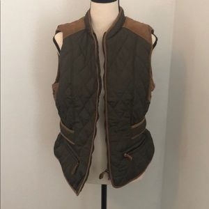 ENTRO brand olive and tan vest